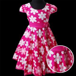 KD321 Printemps ÉTÉ Filles Rose Rouge Imprimé Fleur Bow Coton Habiller Robe