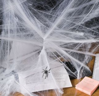 4 Spider Webs w Black Spiders Halloween Decorations Haunted House