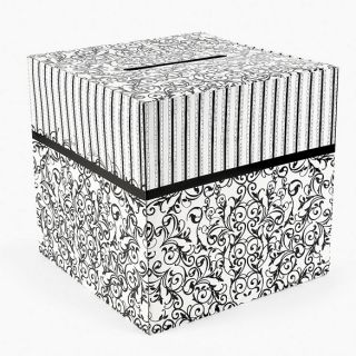 Black White Wedding Card Money Gift Box Reception Wishing Well