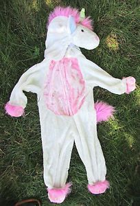 Plush White Pink Unicorn Horse Costume Outfit Girl Baby Size 2T Halloween Used