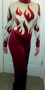 New Red Sequin Dance Costume Acro Gymnastics Tap Jazz Solo