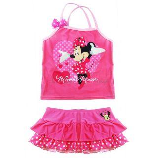 Girls Kids Minnie Mouse Swimsuit Mini Skirt Swimwear Tankini Costume 2pcs Sz 4 5