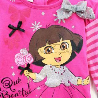 Girls Baby Dora Top Dress Leggings Pants Sets 2pcs Outfit Costume Set Sz 2 4 Y
