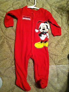 Disney Mickey Mouse My First Christmas Pajamas Onesie Baby Clothes Size 9 Months