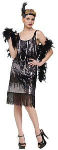 Adult Sexy Sexy Roaring 20s Black Sequin Jazz Baby Flapper Costume Halloween
