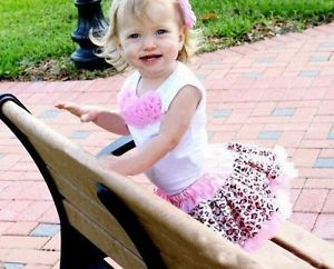 2pcs Baby Girl Kids Tutu Dress Top Skirt Pink Dress Leopard Clothes 3 to 4 Years