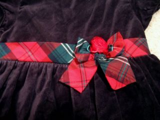 New Girls Winter Holiday Party Dress 3T Black Red Plaid Ribbon Cute