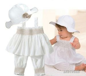 3pcs Baby Girl Toddler Kid Ruffle Top Pants Hat Set Outfit Clothes Costume 0 24M