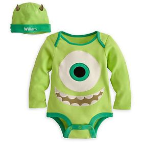 Disney Store Mike Wazowski Costume Hat Set Size 2T Monsters Inc Baby Outfit