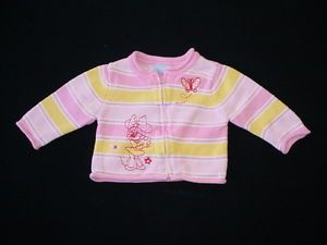 Walt Disney Minnie Mouse Pink Zip Front Sweater Infant Baby Girls 6M