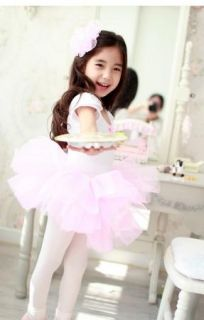 Girl Party Leotard Ballet Tutu Dance Dress 3 8Y Costume Short Sleeve Clothing