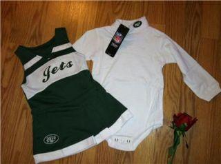 Girls NFL New York Jets 2 PC Reebok Cheerleader Uniform Outfit