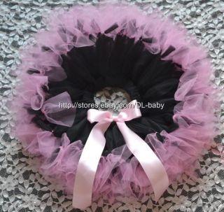 Pink Black Party Costume Ballet Girl Toddler Baby Tutu Skirt 0 5T