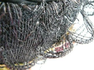Victorian Edwardian Ladies Hat Antique Straw Black Flowers Ribbon Lace