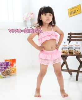 Pink Girls Kids Lace Top Tutu Swimsuit Swimwear Bikini Swimming Costume Sz 2 6