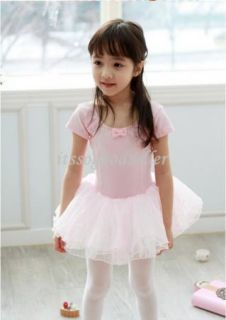 Girl Party Leotard Ballet Tutu Costume Dance Skirt Dress 2 7Y Pink Short Sleeve