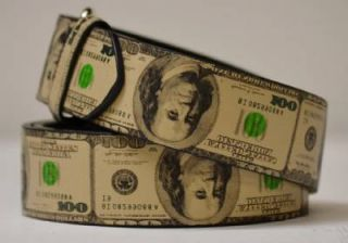 New Trendy Printed Hipster Cash Money $100 Dollar Bill Benjamin Leather Belt S