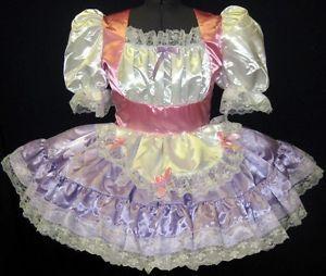 Satin Swiss Maid Adult Baby Sissy Dress Leanne