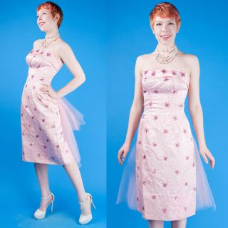 50s Vtg Dazzling Baby Pink Prom Party Brocade Beaded Strapless Dress Hourglass S