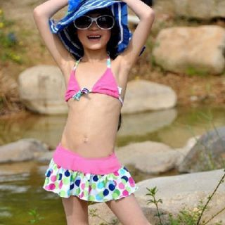 Girl Polka Dot Swimsuit Swimwear Tankini Bikini Sz 2 10