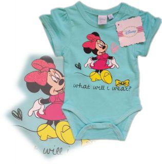 New Disney Minnie Mouse Babygrow Bodysuit Baby Girl 12 18 Months 86cm Aqua
