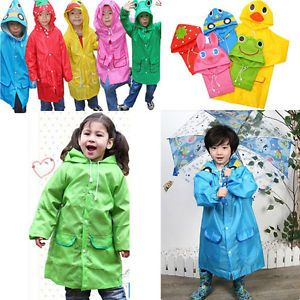 Popular Cartoon Hooded Rain Coat Jacket 5 Colors for Baby Chilren Kid Boy Girl