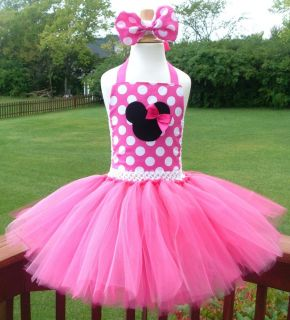 Minnie Mouse Tutu Dress Pageant Birthday Costume Mickey Pink Disney