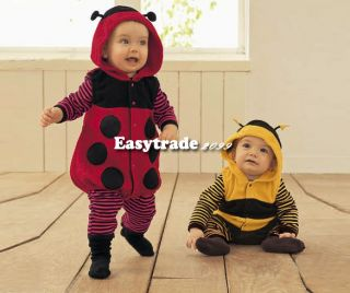 Baby's Super Cute Fleece Cartoon Ladybird Bee Costume Dress Romper 4 Sizes ESY1