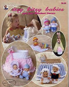 """Itsy Bitsy Babies Bassinet 4 8"""" Doll Purse Clothes Crochet Pattern Annie Potter"""