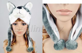 Cartoon Animal Siberian Cute Fluffy Plush Fancy Dress Husky Costume Hat Cap New