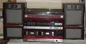 Fisher Tac M20 Compact Bookshelf Stereo Turntable Phonograph Speakers Cassettes
