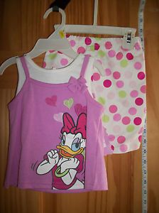 New Daisy Duck Infant Clothes 3 6M Disney Baby 2 Piece Set Pink Polka Dot Shorts