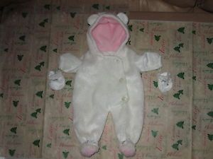 American Girl Bitty Baby Bunch Doll Clothes Polar Bear Bunting White Snow Set
