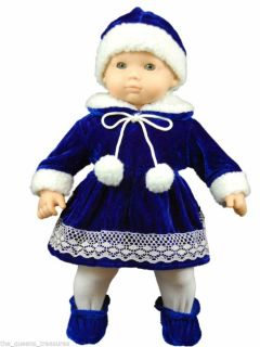 """The Queen's Treasures Clothes for American Girl Bitty Baby 15"""" Dolls Blue Velvet"""