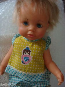 "Ideal Betsy Wetsy Baby Doll Blond Hair 1971 Vintage 13"" Original Clothes"