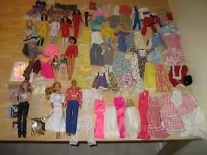Vtg Lot Barbie Ken Topper Dawn Glori Charlie Angel Doll Clothes Toy Mattel Baby