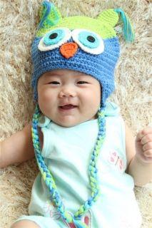 Cute Handmade Cotton Baby Girl Owl Hat Beanie New Green Blue Newborn Photo Prop