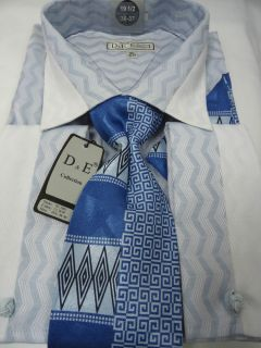 Mens D E Baby Blue Geometric Design Fench Cuff Dress Shirt Tie Combo DS 1607