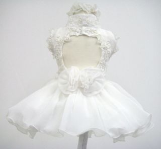 New Baby Toddler Girl National Glitz Pageant Dress Size 1 3 4 5 6 White Baptism