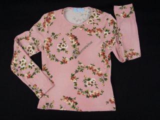 BLUMARINE Baby Girls Top 6 Years Pink Jersey Knit Floral Pattern Jeweled Shirt