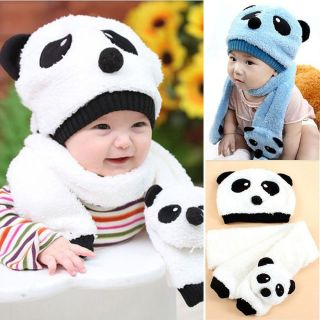 2pcs Toddler Infant Unisex Girl Boy Baby Hat Cap Beanie Scarf Panda Cartoon 1 5Y