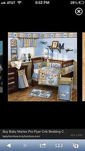 Baby Martex Pro Flyer Airplane Helicopter Crib Bedding Nursery 12 Piece Set
