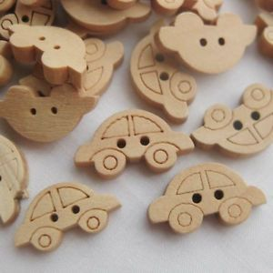 20x Wood Buttons Cute Cartoon Car Baby Clothes Appliques DIY Craft Sewing D017