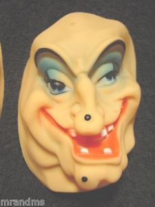 4 Scary Vintage Plastic Ugly Witch Doll Heads Parts Making Crafting Supplies