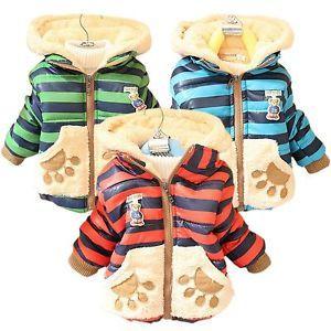 Baby Kid Boy Girl Winter Jackets Teddy Bear Hoodie Fleece Coat Outerwear 1T 3T