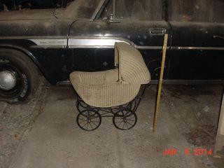 Antique Wicker Doll Stroller Baby Carriage Vintage Pram Victorian 1920 1930
