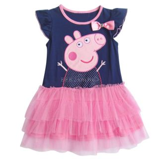 New Baby Toddler Girls Navy Blue Peppa Pig Party Tutu Dress Top Outfit Sz 2T 6