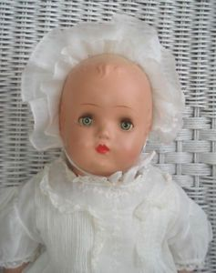 "18"" Vintage Horsman Composition Baby Mama Doll Tin Eyes Cries Old Clothes"