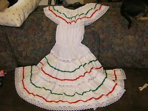 Girls Size 10 12 Child Mexican Folklorico Fiesta Dance Dress Costume Vestido