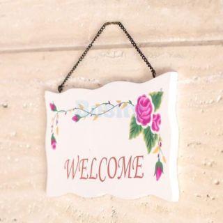 "Wooden Home Cafe Shop Decorative Door Welcome Sign Hanging Plaque 9 3x5x0 35"""